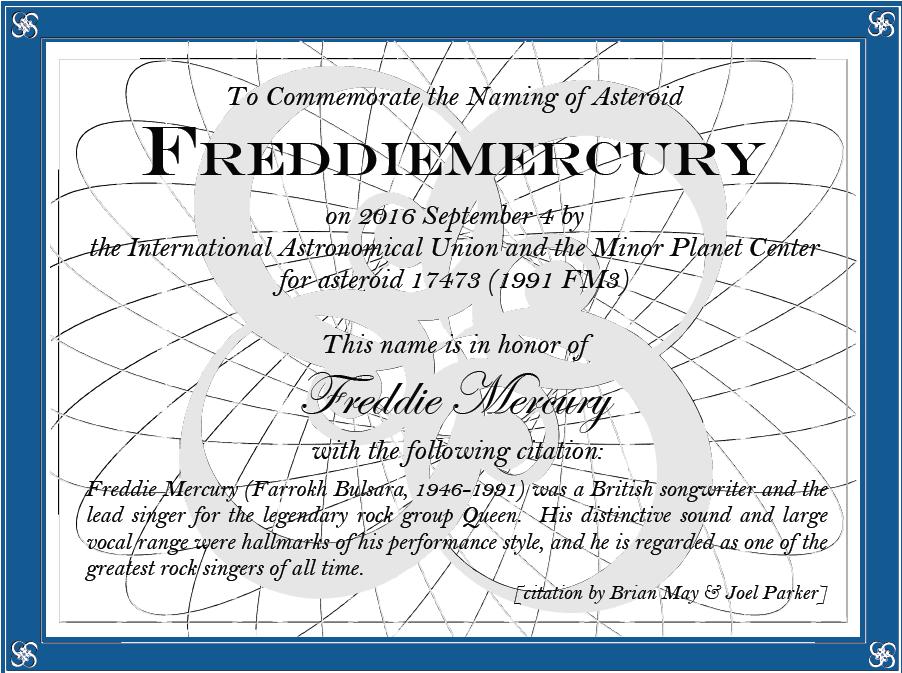 Freddie Mercury Asteroid Certificate